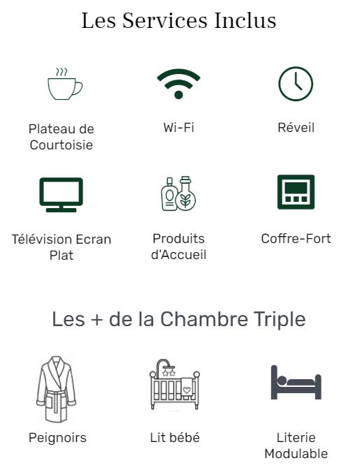 Services Logo chambre triple - Hôtel star Champs-Elysées
